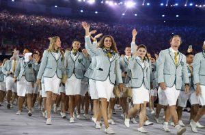 A delegação australiana no desfile de Abertura dos Jogos Olímpicos 2016