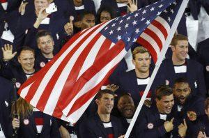 Atletas norte americanos na Abertura dos Jogos Olímpicos Rio 2016