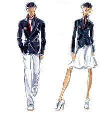 Croquis dos uniformes olímpicos norte americano assinados por Polo Ralph Lauren