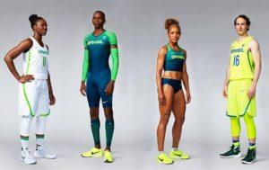 Uniformes da Nike para o Brasil, Clarissa e Marcelinho Huertas, do basquete (nas pontas), Duda e Keila Costa, do atletismo