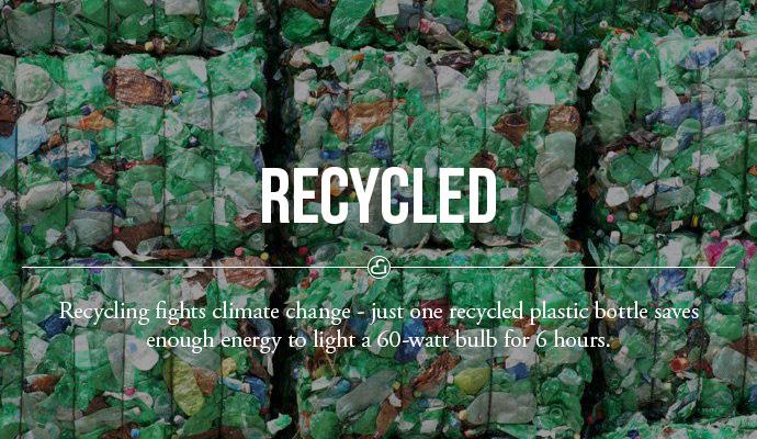 Reciclar combate as mudanças climáticas - apenas onde recicla garrafa de plástico economiza energia suficiente para acender uma lâmpada de 60 watts por 6 horas