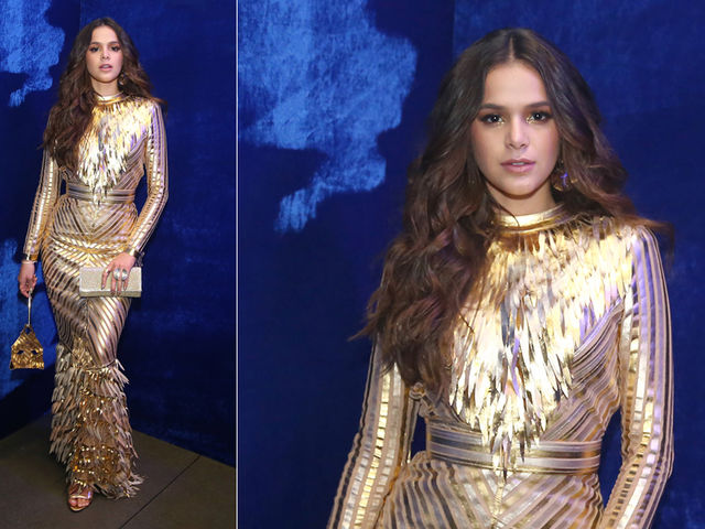 Bruna Marquezine - toda no dourado inspirada em Le+úo