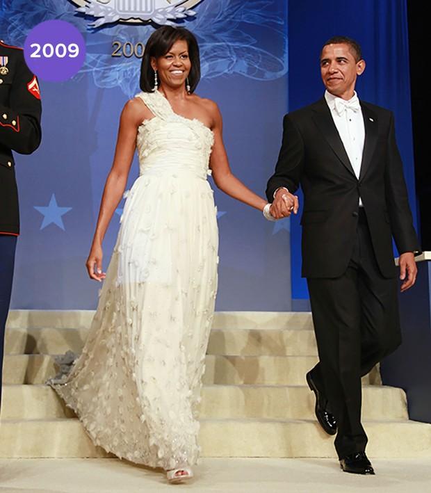 Em 2008: Michelle Obama de Jason Wu na festa de posse de Barack Obama (Foto: Getty Images)
