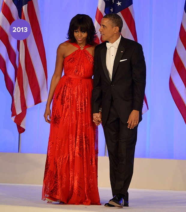 Em 2013: Michelle Obama veste Jason Wu, no baile da segunda posse (Foto: Getty Images)