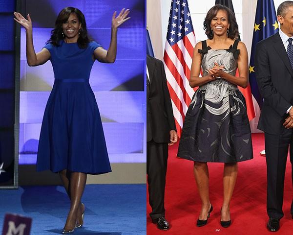 Michelle Obama de Christian Siriano e Carolina Herrera (Foto: Getty Images) ty Images)