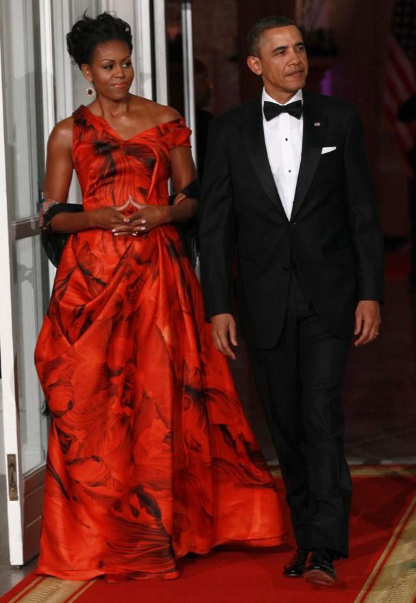 Em 2011,Michelle Obama veste Alexander McQueen (Foto: Getty Images)