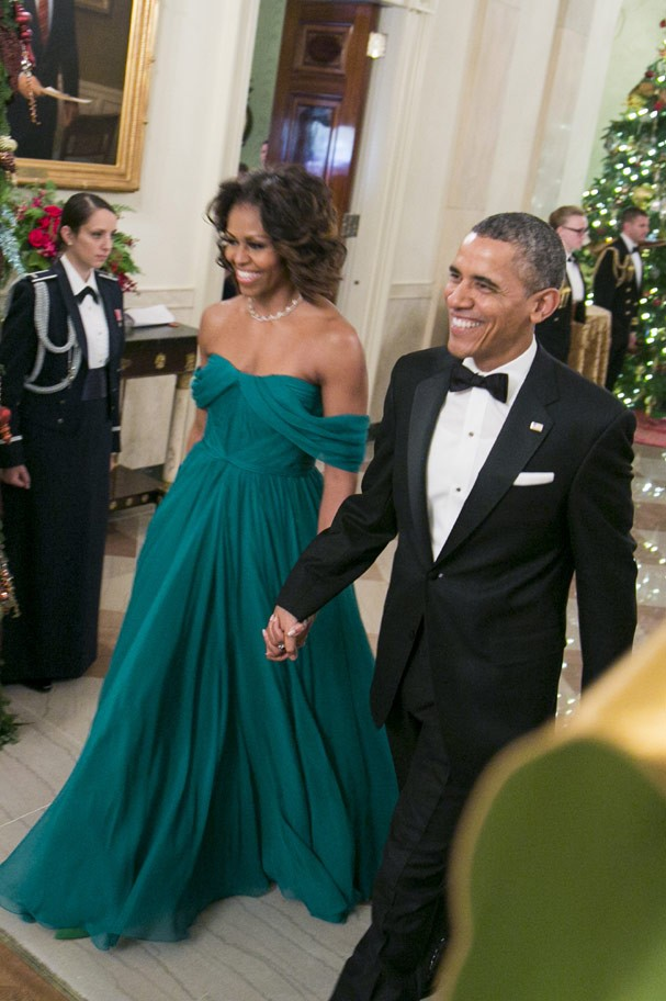 Em 2013: Michelle Obama roubou a cena com look Marchesa (Foto: Getty Images)