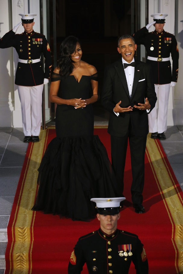 Em 2015,Michelle Obama veste Vera Wang (Foto: Getty Images)